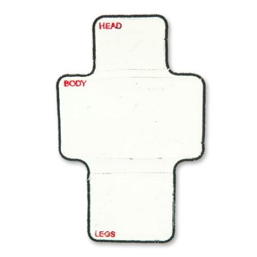 Hlava - telo - rameno hra nášivka / 10 cm šírka x 15 cm výška /