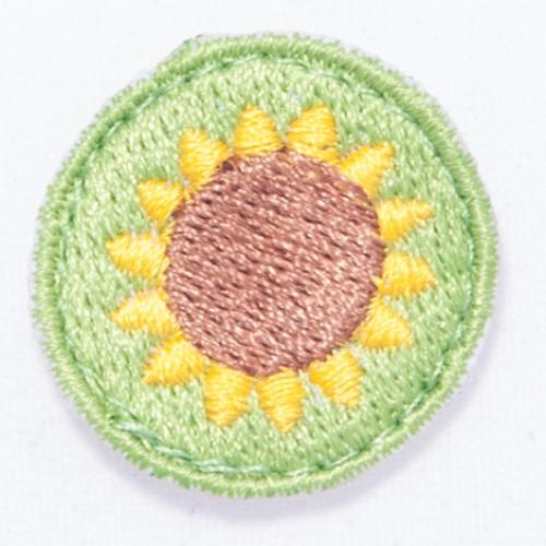 Kvet slnečnica nášivka  / šírka 2,5 cm x 2,5 cm výška /